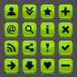Royalty-Free Stock Obraz wektorowy: 16 green icon with basic web black sign. Glossy rounded square shape internet button with drop shadow and color transparency reflection dark gray background. Vector illustration design elements 8 eps