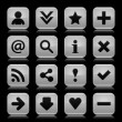 16 glass gray icon with black basic sign. Rounded square shape web button with color reflection on dark black background. Vector illustration design elements saved in 8 eps - Stock Vector