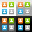 Color glossy web internet button with user profile sign. Rounded square icon with shadow and reflection on four background. This vector saved in 8 eps. Do not contain effects and transparency — Векторная иллюстрация