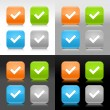 Vecteur: Color glossy web internet button with check mark sign. Rounded square icon with shadow and reflection on four background. This vector saved in 8 eps. Do not contain effects and transparency