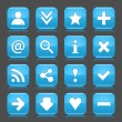 16 glossy blue icon with basic sign. Rounded square shape internet web button with color reflection and black shadow on dark gray background. This illustration vector design elements saved 8 eps — Stock Vector