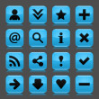 16 blue icon with basic web black sign. Glossy rounded square shape internet button with drop shadow and color transparency reflection dark gray background. Vector illustration design elements 8 eps — Stock Vector