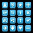 16 glass blue icon with black basic sign. Rounded square shape web button with color reflection on dark black background. Vector illustration design elements saved in 8 eps — Stock Vector