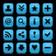 16 glass blue icon with black basic sign. Rounded square shape web button with color reflection on dark black background. Vector illustration design elements saved in 8 eps — Stock Vector #23858473