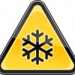 Yellow hazard sign with black snowflake low temperature symbol. Triangular glossy shape on white background. This vector illustration clip-art design element saved in 10 eps - Stock Vector