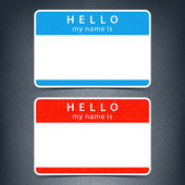Blue and red name tag blank sticker HELLO my name is with drop black shadow on dark gray background with noise grain texture. This vector illustration clip-art element for design saved in 10 eps — Stock Vector