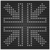 4 chrome arrow signs on metal seamless pattern. Dark gray dot perforated texture background. This vector illustration file saved in format 10 eps — Stock Vector