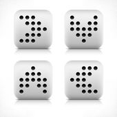 Arrow sign digital scoreboard black dot icon. Stone button gray rounded square shape with shadow and gray reflection on white background. Vector illustration web design element saved in 8 eps — Stock Vector