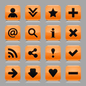 16 orange icon with basic web black sign. Glossy rounded square shape internet button with drop shadow and color transparency reflection dark gray background. Vector illustration design elements 8 eps — Stock Vector