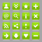16 glossy green button with white basic sign. Rounded square shape internet web icon with black shadow and reflection on light gray background. This vector illustration design elements saved 8 eps — Stock Vector