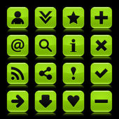 16 glass green icon with black basic sign. Rounded square shape web button with color reflection on dark black background. Vector illustration design elements saved in 8 eps — Stock Vector