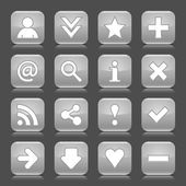 16 glossy gray icon with basic sign. Rounded square shape internet web button with color reflection and black shadow on dark gray background. This illustration vector design elements saved 8 eps — Stock Vector