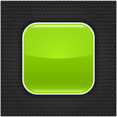 Green glossy blank web button with white border frame. Rounded square shape icon with black shadow. Dark gray background metal perforation texture. This vector illustration saved in 10 eps — Stock Vector