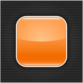 Orange glossy blank web button with white border frame. Rounded square shape icon with black shadow. Dark gray background metal perforation texture. This vector illustration saved in 10 eps — Stock Vector
