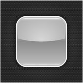 Gray glossy blank web button with white border frame. Rounded square shape icon with black shadow. Dark gray background metal perforation texture. This vector illustration saved in 10 eps — Stock Vector