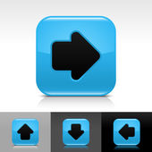 Botão azul brilhante web com sinal de seta preta — Vetor de Stock