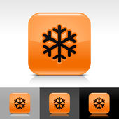 Orange glossy web button with low temperature black snowflake sign. Rounded square shape icon with shadow, reflection on white, gray, black background. — Stock Vector