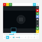 Interface media player avec barre de chargement vidéo et boutons de film supplémentaires. simple solide un couleur plat tuile plate. nouvelle moderne métro mignon style minimal. vector illustration web design element 8 eps — Vecteur