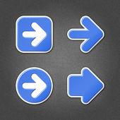 4 signo de flecha azul pegatina web icono — Vector de stock