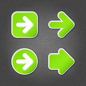 4 green sticker arrow sign web icon — Stock Vector