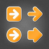 4 orange sticker arrow sign web icon — Stock Vector