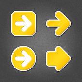 4 yellow sticker arrow sign web icon — Stock Vector