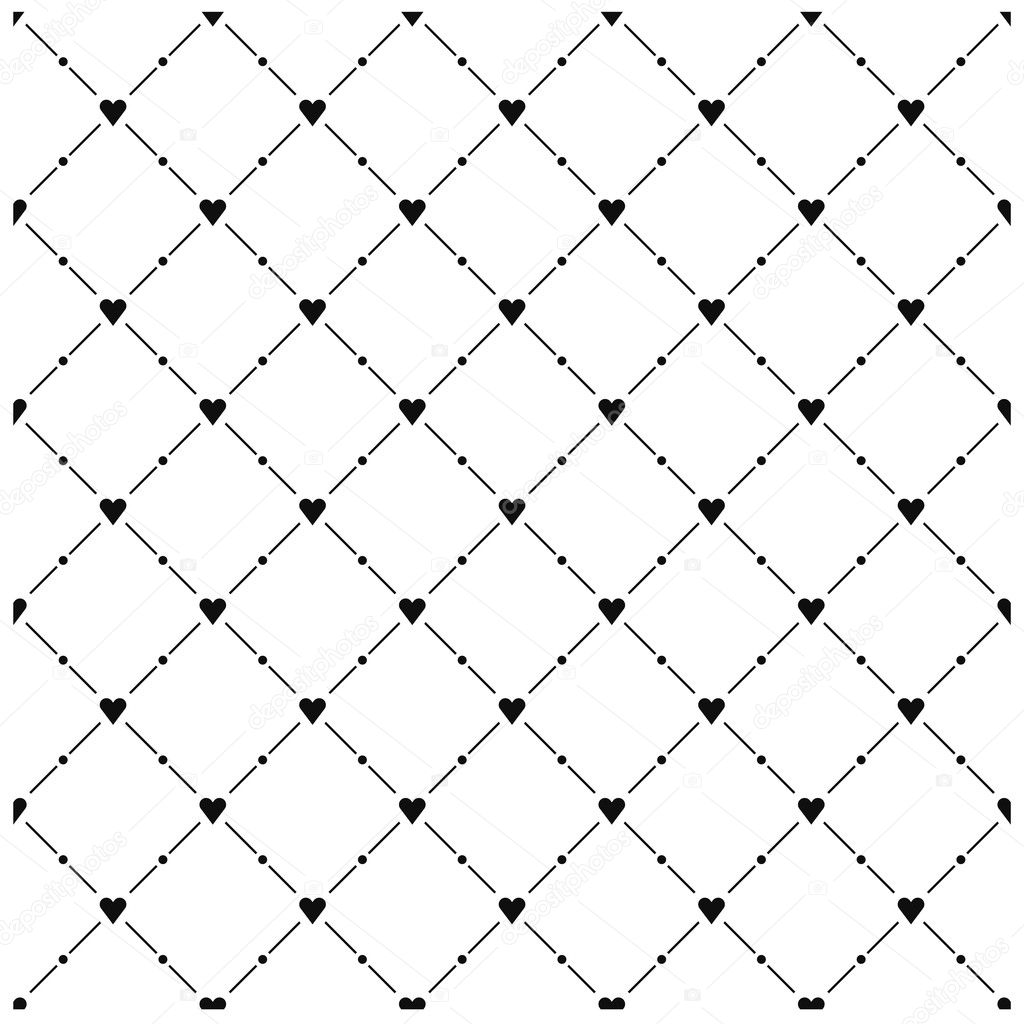 Seamless pattern with black heart symbol on white background. Template ...