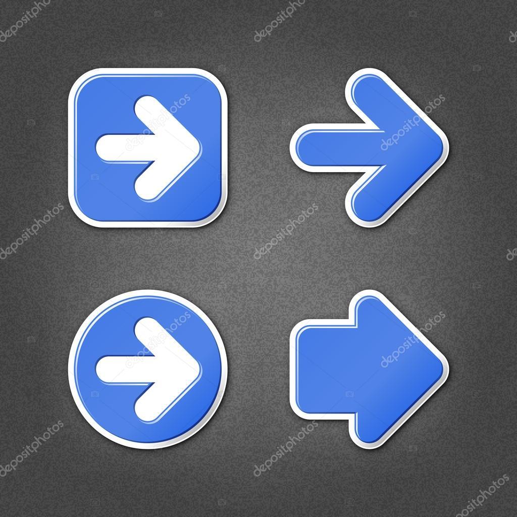 4 蓝色贴纸箭头标志网页图标