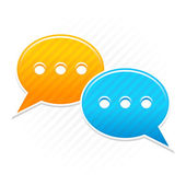 Satin smooth sticker chat room icon. Yellow and blue color web button. Strip speech bubbles shape with shadow on white background. This vector illustration saved in 10 eps — Stock Vector