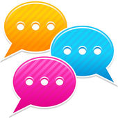 Satin sticker chat room icon. Yellow, blue and pink colored web button. Striped speech bubbles shape with shadow on white background. This vector illustration saved in 10 eps — Stock Vector