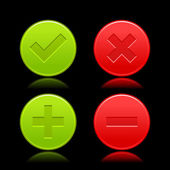 Red and green icon with check mark, delete, plus and minus signs. Satin validation web buttons with color reflection on black background. Vector illustration clip-art design elements saved in 8 eps — Stock Vector