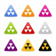 Colored triangle web 2.0 buttons with radiation sign and gray shadow on white — Stock vektor