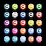 gekleurde gladde web 2.0 auteursrecht knoppen met reflectie op zwarte achtergrond — Stockvector