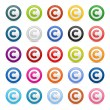 Stock Vector: Colored matted round buttons with copyright symbol on white