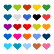 Matted color heart web buttons on white background — 图库矢量图片