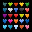 25 colored heart icon web 2.0 buttons with shadow and reflection on black background — Stock Vector