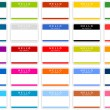 Colored name tag sticker set with shadow on white — Stock Vector