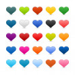 Stock Vector: Matted color heart web buttons on white background