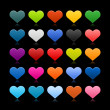 Stock Vector: Matted colored heart web buttons with reflection on black