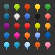 25 mapping pins icon web 2.0 buttons. Colored satined round shapes with shadow on gray - Imagens vectoriais em stock