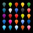 25 mapping pins icon web 2.0 buttons. Colored satined round shapes with reflection on black — Imagens vectoriais em stock