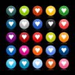 25 satined web 2.0 button with heart sign. Colored round shape with reflection on black background — Stock Vector