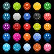 Stock Vector: Matted colored smiley faces on black background
