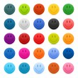Stock Vector: Matted color smiley web buttons on white