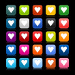 Satin web 2.0 button with heart sign on black background. Colored rounded square shapes with reflection. — Stock Vector