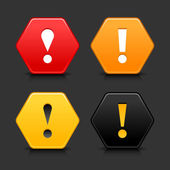 Warning attention icon web 2.0 button. Colored hexagon shape with black shadow and reflection on gray background — Stock Vector