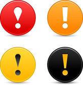 Warnschild achtung mit ausrufezeichen. farbige runde web 2.0 button mit schatten auf weiß. — Stockvektor
