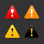 Warning icon web 2.0 button with exclamation mark. Satin triangle shape with shadow on gray. — Stock Vector