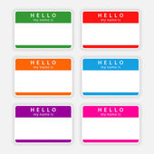 Badge name tag HELLO my name is. Colorful blank label with shadow on gray background — Stock Vector
