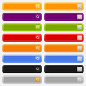 Web search form with loupe sign button. Variations colors rounded rectangle on gray — Stock Vector